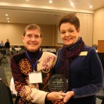 Two founding members of MFEC, Marsha Goetting and Sue Woodrow, with the State Coalition of the Year Award